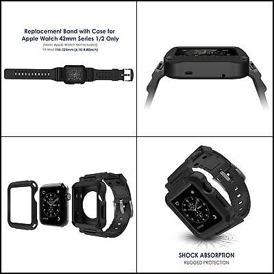 Black Rugged Protective Case with Black Strap Bands for Apple Watch 1 2 3 (42mm)