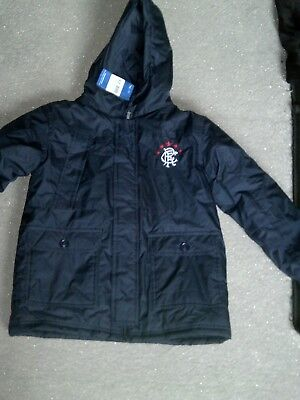 Boys navy padded rangers fc jacket new with tags 9-10 years