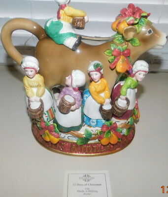 "Fitz And Floyd Twelve Days Of Christmas ""eight Maids Milking"" - Mint!!  Box"