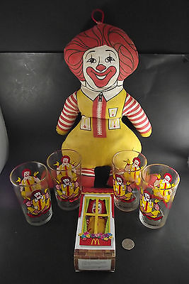 Vintage Mcdonald's Collection 4 Glasses Best Made Toy And Ronald In Box 2003