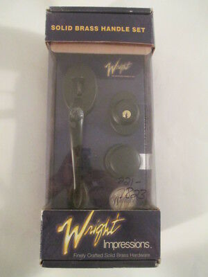 GENUINE Wright Impressions Solid Brass Entry Door Handle set Oli Rubbed Bronze