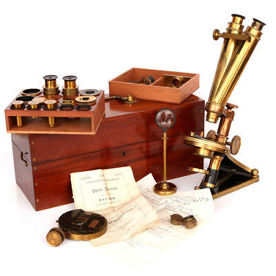 Very Fine & Complete R & J Beck 'Popular' Binocular Microscope Outfit Dated 1878