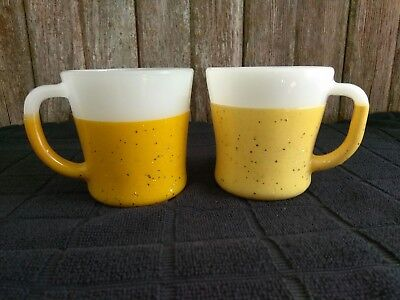 2 vintage FIRE KING GLAMALITE GLITTER mugs cups yellow gold