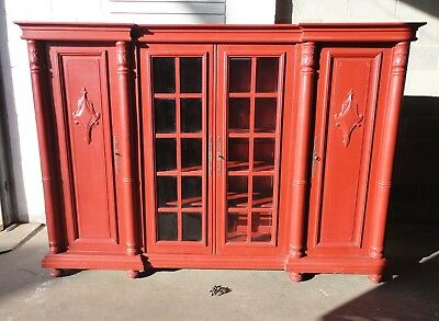Lovely Large Painted French Antique Oak Library Bookcase Cabinet Glazed & Carved