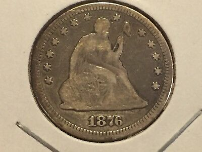 1876-P Seated Liberty Quarter 1876 P Silver 25c NO RESERVE!!! + FREE SHIPPING!!!