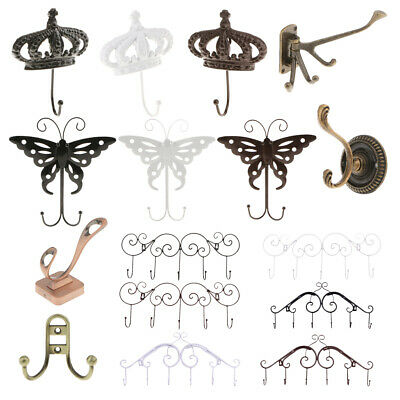 Iron Metal Decorative 1/2/3/4/5/6 Wall Mounted Clothes Towel Hook Hanger Holder