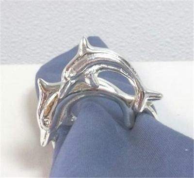 Napkin Rings Dolphin Duo Silver Color