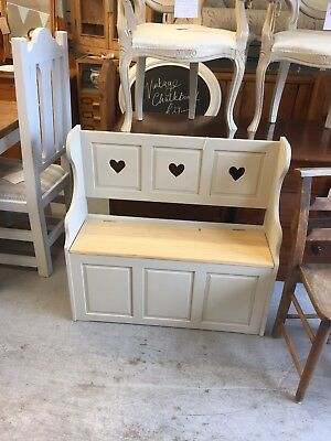 Shabby Chic Pine Monks Bench,Pew,Seat,Chair,Vintage,Furniture Showroom In Kent