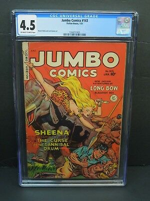 Fiction House Jumbo Comics #143 1951 Cgc 4.5 Golden Age Jungle Sheena