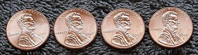Set of 4 Lincoln Bicentennial 2009 D Cent Pennies from OBW Rolls BU GEMS!  L@@K!