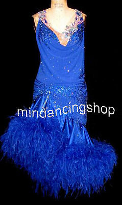 U4867 Ballroom lady chacha Latin samba salsa dance dress Feather fur Tailor made