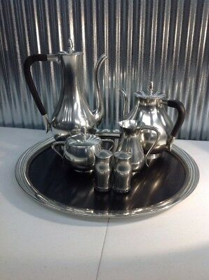 Vintage Royal Holland KMD Tiel Pewter Coffee Tea Set With Wooden Tray