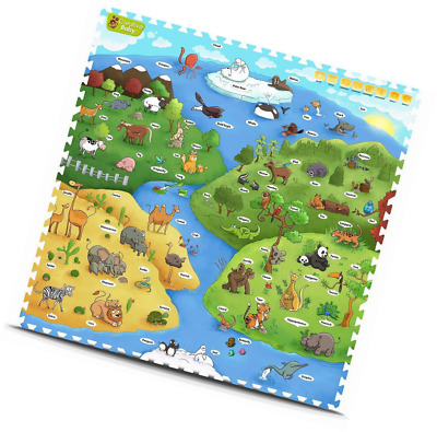 Baby Infant Interactive Play Mat 9 Pieces Toddler Kiddie Nursery Fun Mats Rugs