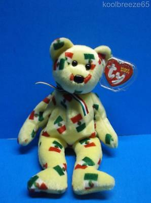 Ty Beanie Baby PINATA Bear Black Nose Plush Toy Hang Tag 2003 Mexico Flag