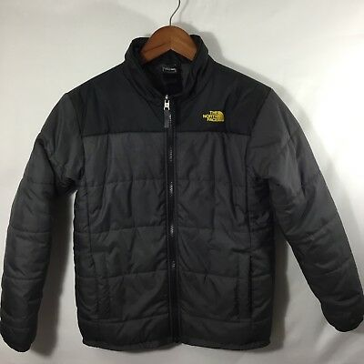 The North Face Jacket Boys Large 14/16 Black Gray Puffer Coat Winter Warm