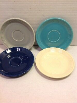 """4 Vintage Old Fiestaware Teacup Saucers 6"""" Mixed Colors Ivory Turquoise Fiesta"""