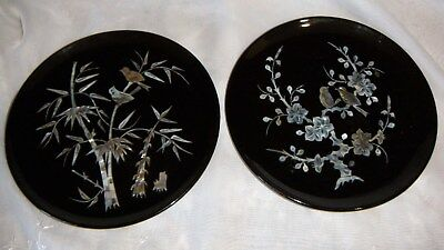 Vintage Black Laquer Inlay Mother of Pearl Plates Birds Trees