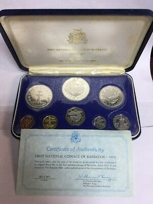 1973 First National Coinage Of Barbados 8 Coin Proof Set~Franklin Mint