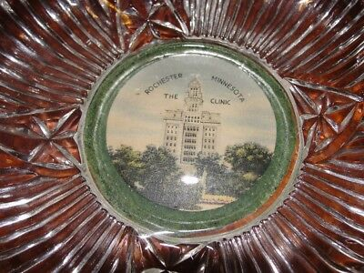 Vintage Pressed glass dish, The Clinic, Rochester, MN, Unique find!