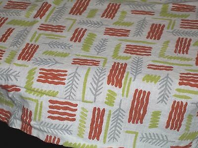 Vintage Feed Sack Feedbag Quilt Material Olive Green Gray Ferns Fronds Lines