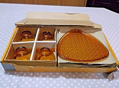 Indiana Glass Daisy & Button Cups & Snack Trays Original Box  Never Used
