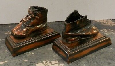 Bronzed Baby Shoe Bookends Vintage Antique REAL From The 50's Shoes HEAVY