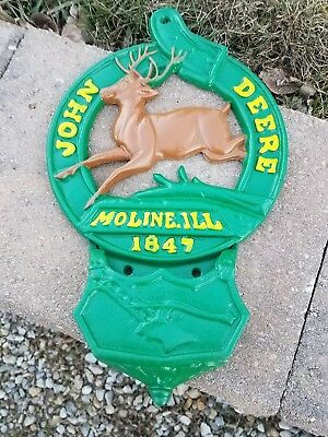 John Deere Moline Ill. Cast Iron Emblem Accent Man Cave Great Gift