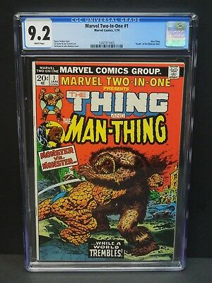 """Marvel Two-In-One #1 1974 Cgc 9.2 Wp-Man-Thing-""""death"""" Of The Molecule Man"""
