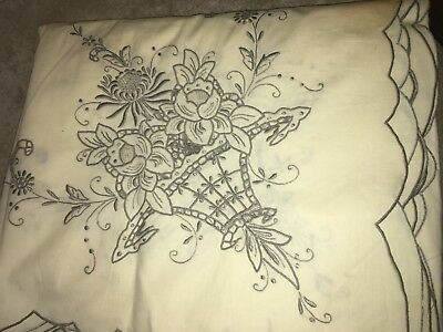 "Spanish Cotton Embroidered  BANQUET Cloth Tablecloth  Vintage 64"" x 100"" Ecru"