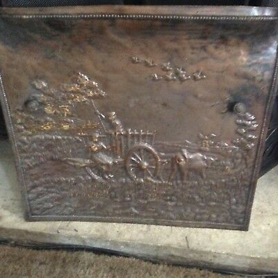 Vintage Early to Mid Century Fireplace Cover Door Screen Pressed Tin Victorian