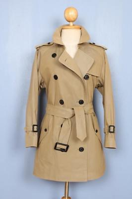 BEAUTIFUL Womens BURBERRY Double Breasted Short TRENCH Coat Mac Olive 8/10