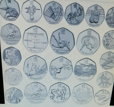 Rare & Valuable UK 50p Pence Coins Circulated LONDON OLYMPICS & COMMONWEALTH