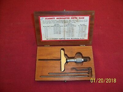Vintage Starrett Micrometer Depth Gage No. 445 In Wood Box