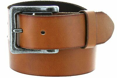 Mens One Piece Vintage Full Grain Heavy Duty Leather With Antique Silver Finish
