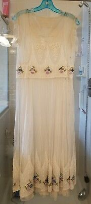 Vintage Womens Antique Sheer Dress Ivory Color early 1900's Night Gown Victorian