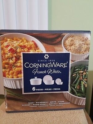 corning ware french white 6 piece bake and microwave set