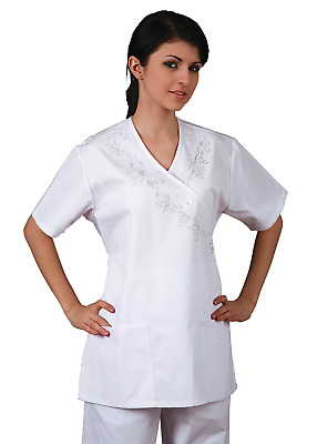 Adar Womens Medical Uniforms Nursing Scrub Mock Wrap With Embroidered Front Top