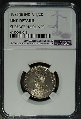 1925(B) India 1/2R Ngc Unc Details