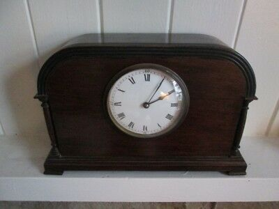 Antique Edwardian Mahogany Corinthian Column Mantel Clock.