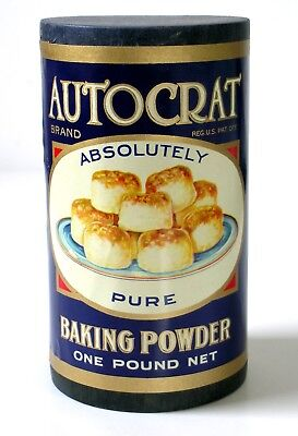 NOS Vintage AUTOCRAT Pure BAKING POWDER One Pound NEW ORLEANS LA (not tin)