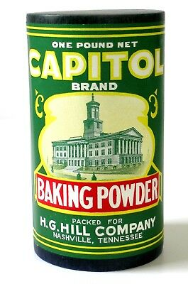 NOS Vintage CAPITOL Pure BAKING POWDER One Pound NASHVILLE Tennessee (not tin)