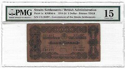 1916 Straits Settlements $1 Dollar, PMG 15 FINE, P-1c, Scarce Note in Any Grade