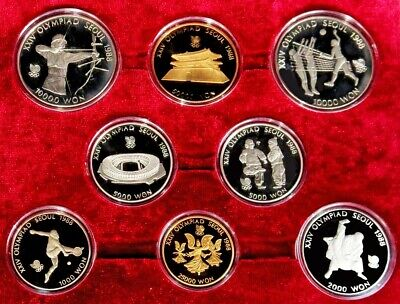 1987 Gold & Silver South Korea Gem Proof Seoul Olympic Xxiv Complete 8 Coin Set