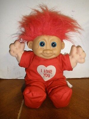 """vintage Russ I Love You Troll red hair 12"""""""