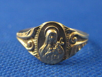 Vintage 10K Yellow Gold Saint Mary Ring Size 8 3/4