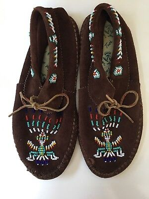 Taos **VTG** Beaded High Top Moccasins Brown Suede Booties Beaded 9.5-10 Laces