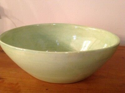 Hand-painted earthenware bowl from Sebastopol CA's Soule Studio in Kiwi 8 1/2""