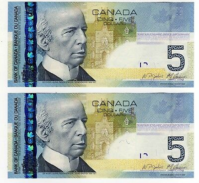 2010 Canada 5 Dollar Notes - 2 in Sequence - HPD3438522/23, BC-67b-i