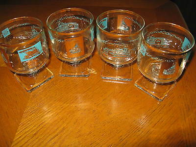 Set of 4 Federal Glass Footed Rocks Cocktail Glasses Riverboats FEG47 Aqua Gold