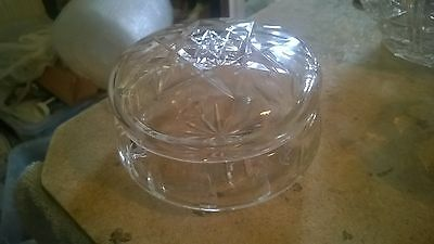 Circular Cut Glass Bowl/Dish with Lid 4.5 Inches Diameter